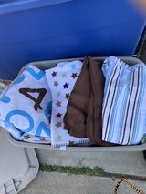 Crib Comforter, sheets and blankets in Travis AFB, California