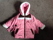 3T Toddler Girls Winter Snow Coat with Scarf Pink, white & brown in Fort Campbell, Kentucky