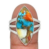 New - Spiny Oyster & Arizona Turquoise 925 Sterling Silver Ring - Size 9.5 in Alamogordo, New Mexico