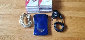 IOMEGA ZIP Drive, with 10 backup discs, cords and power supply in Joliet, Illinois