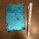 Reduced: Blue/Silver Flip Sequin Journal with Giant Pen in Bolingbrook, Illinois