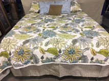 Queen Coverlet, Tan Bedskirt and Decorative Pillows in DeKalb, Illinois
