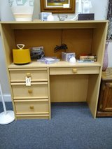 Light Toned Desk with Top Cabinet in Bolingbrook, Illinois
