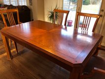 Solid cherry wood table with 2 leaves (seats 10+) in Yorkville, Illinois
