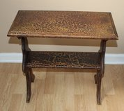 Brown Distressed Crackle Side Table Book Shelf in Chicago, Illinois