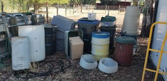 Various containers, barrels, totes, plus more in Travis AFB, California
