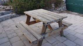 Wooden Patio Bench set in Yucca Valley, California