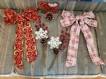 2 Holiday Bows with 2 sprigs of pine cones & berries & a red sled with wire for holiday wreaths ... in Byron, Georgia