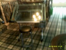 drafting table, adustable glass (  use ) with a stool glass is light blue in Naperville, Illinois