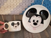 Ceramic Mickey Mouse plate & cup in Warner Robins, Georgia