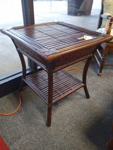 Square Faux Rattan Side Table in Naperville, Illinois