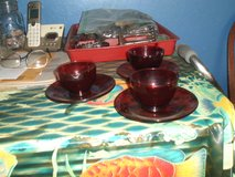 3 ruby red tea cups and saucers in Camp Lejeune, North Carolina