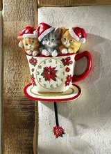 Christmas Wallclock with 3 cute Cats in the Cup in Ramstein, Germany