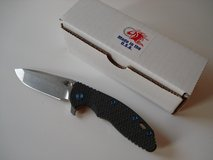 Rick Hinderer XM-18 Carbon Scale Blue Titanium Hardware in Ramstein, Germany