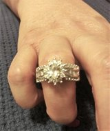 925 Silver CZ Diamond Sunburst Ring (Sz: 6) in Conroe, Texas