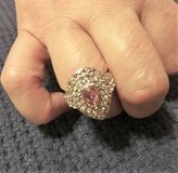 925 Silver CZ Pink Diamond Solitaire Pear Shaped Ring (Sz: 7) in Conroe, Texas