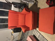 Orange Lounge Chair w/ foot stool in Pasadena, Texas