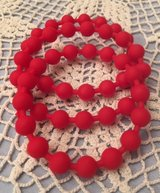 Bracelets Christmas Red Rubber Beads Bangle Style Set of 3 in Houston, Texas