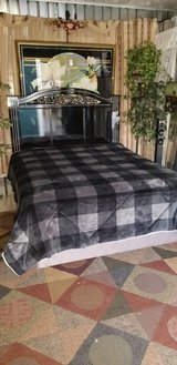 Beautiful ornate black laquer queen headboard and THICK matress set - in Fort Campbell, Kentucky