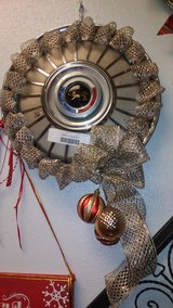 Vintage hubcap Wreath for Man cave in Spring, Texas
