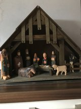 Nativity scene, hand carved wood in Ramstein, Germany
