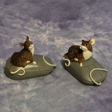 REDUCED! TWO COLLECTIBLE MOUSE ON A MOUSE FIGURINES in Travis AFB, California