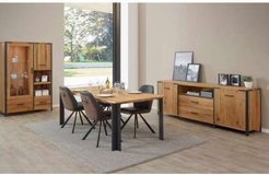 United Furniture - Hamburg Oak Dining - China + Table + 4 Chairs + Delivery in Spangdahlem, Germany
