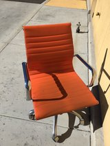 Orange leather office chair in Yucca Valley, California