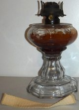 Antique Vintage (Late 1800s) Oil Lamp - Glass w/Brass - No Hurricane Chimney in Orland Park, Illinois