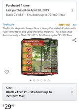 Heavy Duty Magnetic Mesh Curtain For Patio Doord up to 72''x80'' in Leesville, Louisiana