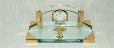 Medical Profession Desk Clock / Rod of Asclepius Glass / Brass Trim in Plainfield, Illinois