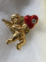 gold angel pin with Austrian crystal and red heart in Beaufort, South Carolina