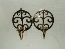 Ornate Brass Wall Sconce Candle Holders ~ Matching Set in Plainfield, Illinois