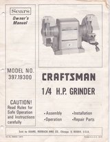 CRAFTSMAN ¼ H.P. GRINDER MODEL NO. 397.19300  w/ extras grinding wheels in Naperville, Illinois