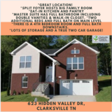 NOW Available Property for Rent to Own: 623 Hidden valley Dr, Clarksville TN in Fort Campbell, Kentucky