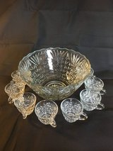 Cut glass punch bowl with 8 cups in Macon, Georgia