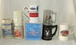 Beer Stein Collection Stoneware Budweiser Playboy Mighty Casey Born to Ride Captain Morgan in Westmont, Illinois