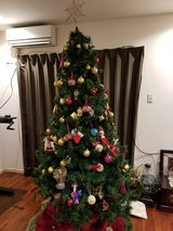 7 ft Christmas Holiday Tree (3 pieces plus base) in Okinawa, Japan