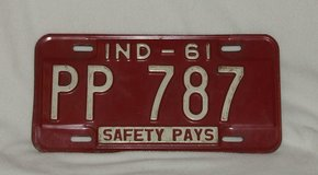 Vintage State of Indiana 1961 License Plate in Plainfield, Illinois
