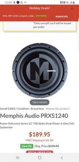 2 12in memphis power reference speakers w Amp in Fort Leonard Wood, Missouri
