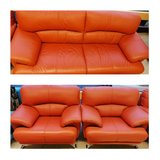 Red Leather Couch Set (3 Pieces) in Ramstein, Germany