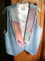 SOUTHWESTERN AUTHENTIC SUEDE/DENIM FRINGE VEST by SFR - LARGE in Chicago, Illinois