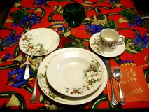 FOUR(4) - 5-PC.GIBSON CHRISTMAS PLACE SETTINGS-POINSETIA PATTERN in Sandwich, Illinois
