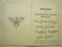 1938 Contribution Card (Beitragskarte) for German Officials in Stuttgart, GE
