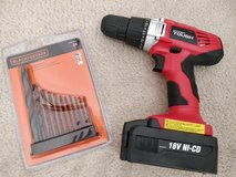 18-Volt Ni-Cad Cordless Drill with battery + Bit Set in Bolingbrook, Illinois
