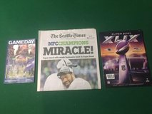 "SEAHAWKS 2015 Superbowl Run (Divisional Game Day, Times ""Miracle"" Newspaper, and XLIX Program in Fort Lewis, Washington"