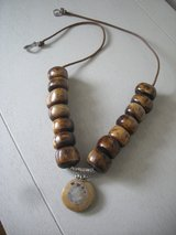 NEW-UNISEX BOHEMIAN STYLE AFRICAN BEADS/JASPER PENDANT/SILVER BAIL NECKLACE in Sandwich, Illinois