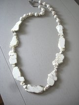 NEW GENUINE WHITE HOWLITE TURQUOISE SLAB NECKLACE - 29 IN. -by BEAR MOUNTAIN DESIGNS in Sandwich, Illinois