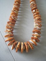 NEW, ORANGE SPINEY OYSTER COIN NECKLACE (BECOMING RARE) - ARTISAN DESIGN in Sandwich, Illinois