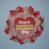 """23"""" Valentine's Day Wreath White with Red Foil Mesh in Greenville, North Carolina"""